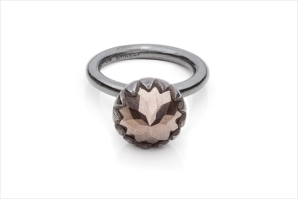 Flower bud – oxidized silver and a pyrit