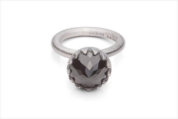 Flower bud – oxidized silver and a spinell